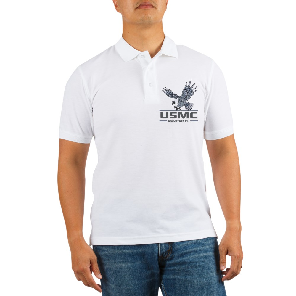CafePress - USMC Eagle Semper Fi! Grey Golf Shirt - Golf Shirt, Pique Knit Golf Polo