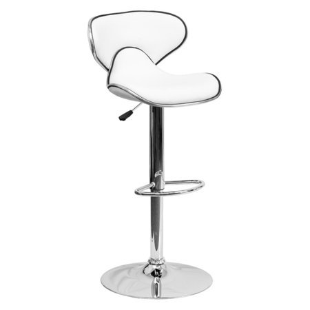 Flash Furniture Contemporary Cozy Mid-Back Vinyl Adjustable Height Barstool with Chrome Base, Multiple Colors
