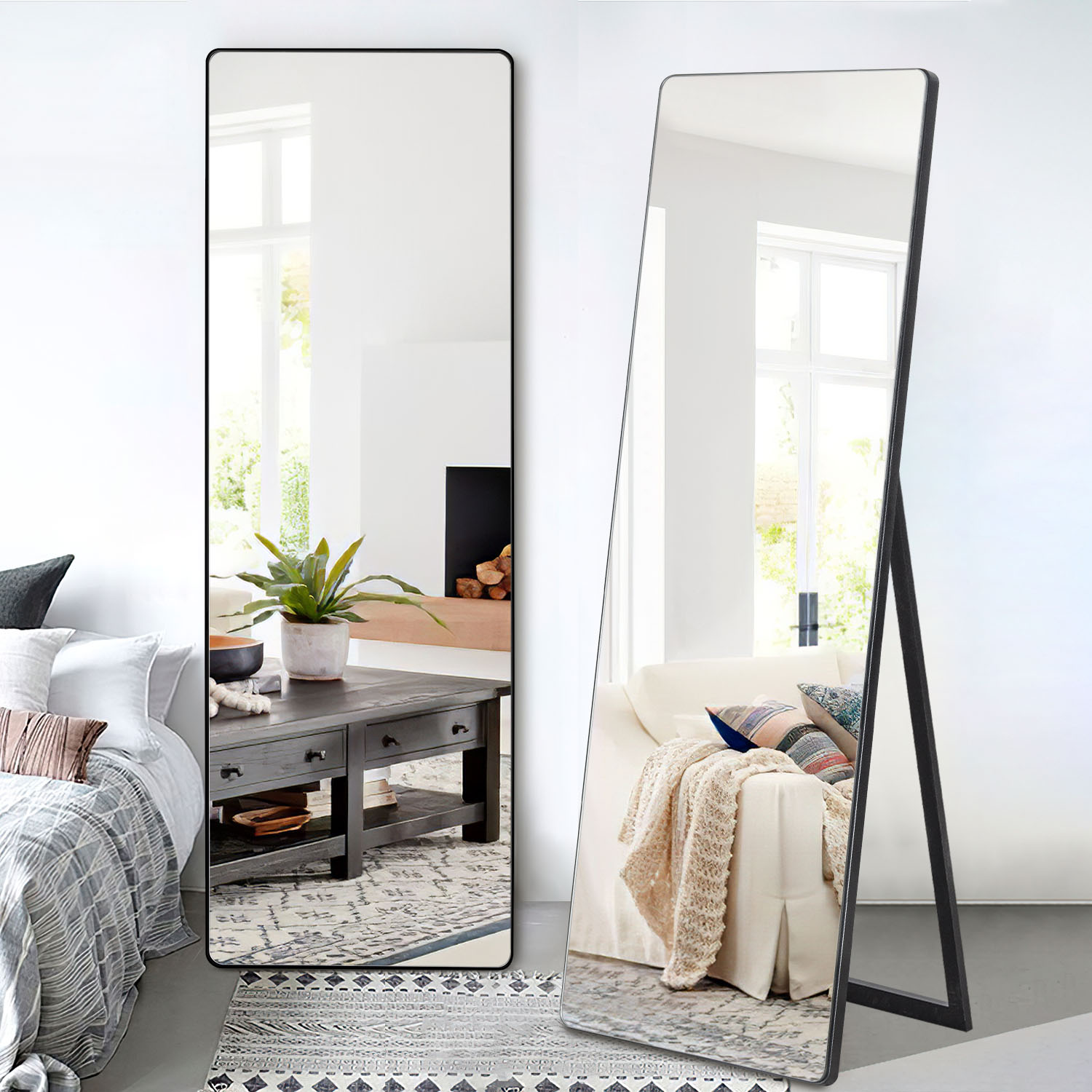 Neutype Full Length Mirror With Standing Holder Floor Mirror Large Wall Mounted Mirror Bedroom Mirror Dressing Mirror Wood Frame Black 65 X 22 Walmart Com Walmart Com