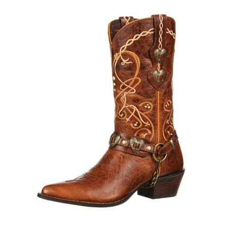 Durango Western Boots Womens 11  Crush Heart Concho Brown Dcrd180