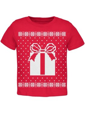 Big Present Ugly Christmas Sweater Red Toddler T-Shirt - 2T