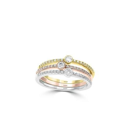 Trio 14K Gold & 0.5 TCW Diamond Stack Ring (Diamond Jewelry Rings)