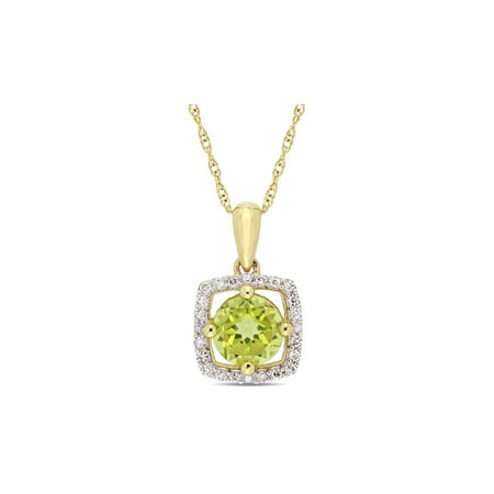 - 7/8 Carat (ctw) Soitaire Peridot Pendant Necklace in 10K Yellow Gold with Diamonds and Chain