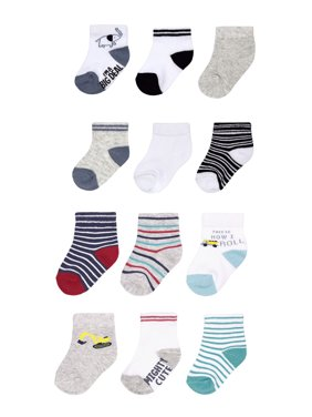 Child of Mine by Carter's Baby Boys Socks, 12-Pack Character Crew