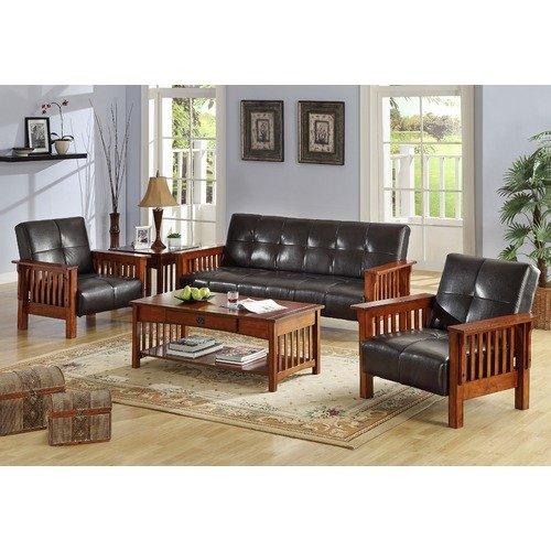 Hokku Designs Maddox Leatherette 3 Piece Convertible Sofa and Chair Set