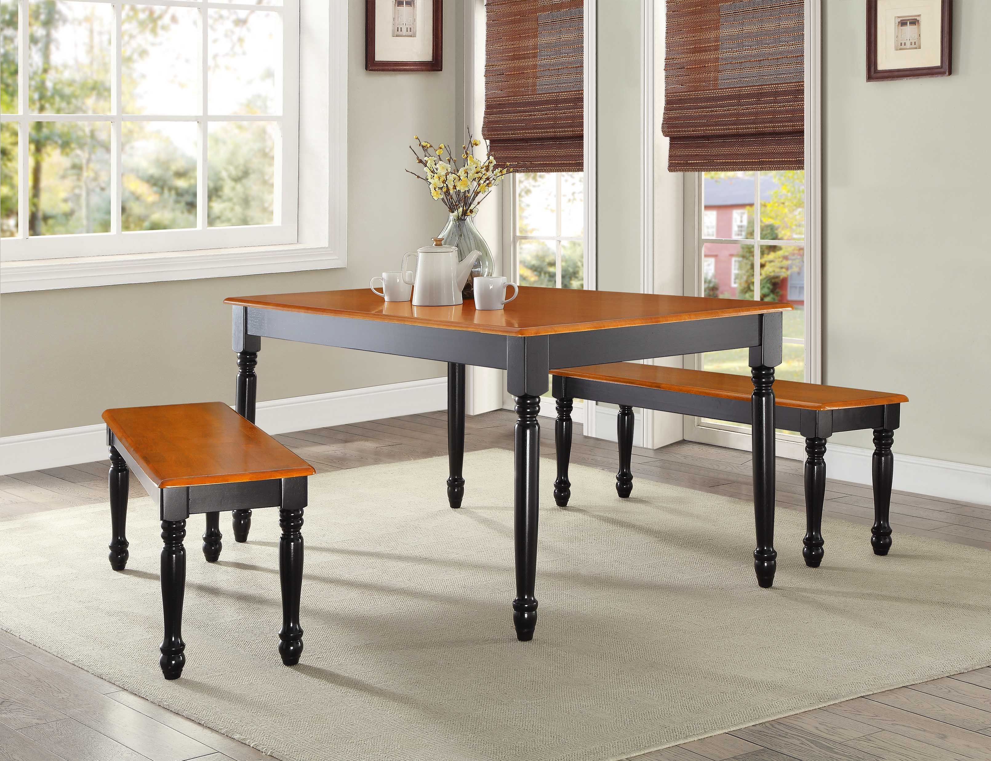 Superb Dining Room Table Seats Up To For 6 People Solid Oak Wood Modern Black  Rectangle | EBay