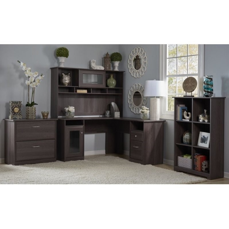 Bush Cabot 3 Piece Office Set In Heather Gray
