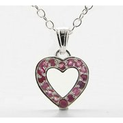 """Sterling Silver 0.80cttw Genuine Ruby Heart Pendant with 16"""" Singapore Chain Necklace"""