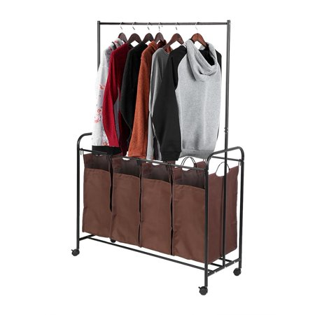 Langria Heavy Duty 4 Bag Rolling Laundry Sorter Cart With Hanging
