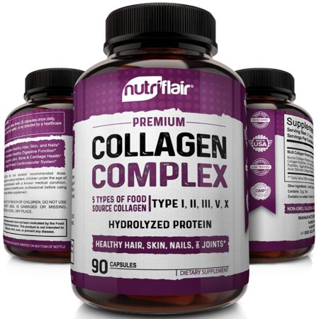 NutriFlair Multi Collagen Peptides Pills - Type I, II, III, V, X - Premium Collagen Complex for Anti-Aging and Healthy Joints, Hair, Skin, and Nails - Hydrolyzed Protein Supplement for Women and