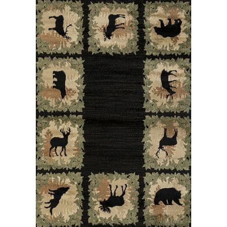 United Weavers Woodside Area Rugs 712 31570 Southwestern Lodge Black Animal Print Leaves Antlers Bears
