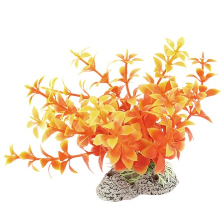 Ceramic Base Aquarium Aquascaping Ornamental Orange Plastic Plant 4.3