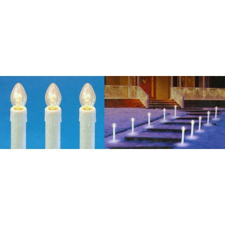 Set Of 10 Pre Lit C7 Candle Christmas Pathway Markers Clear  - Pathway Christmas Lights