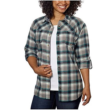 Jachs Girlfriend Ladies' Flannel Shirt, Brushed Flannel, 2 Front Pockets with Snap Closure (Medium, Gray)