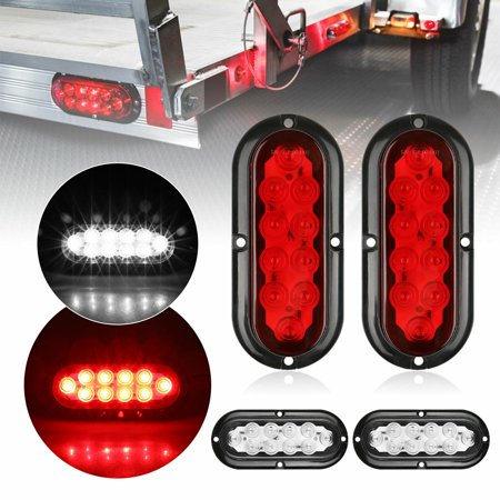 Linkstyle 2Pcs Oval LED Trailer Tail Lights, 10 LEDs 12V Turn Stop Brake Trailer Indicator Lights Waterproof Submersible Trailer Tail Light for Truck Trail Boat RV UTV JEEP,