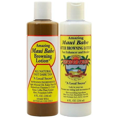 Maui Babe Before and After Sun Pack (Browning Lotion 8 oz, After Browning Lotion 8