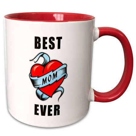 3dRose Best. Mom. Ever. Tattoo Heart Design - Two Tone Red Mug,