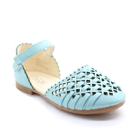 Little Girls Baby Blue Cut-Out Woven Ankle Strap Dress Shoes - Toddler T Strap Shoes