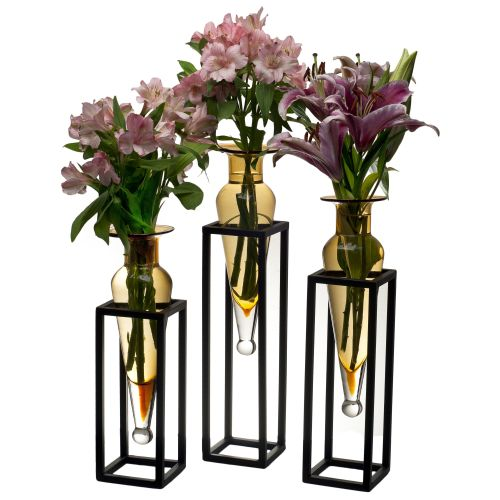 Amphorae Vases on Square Tubing Metal Stands in Clear - Set of 3