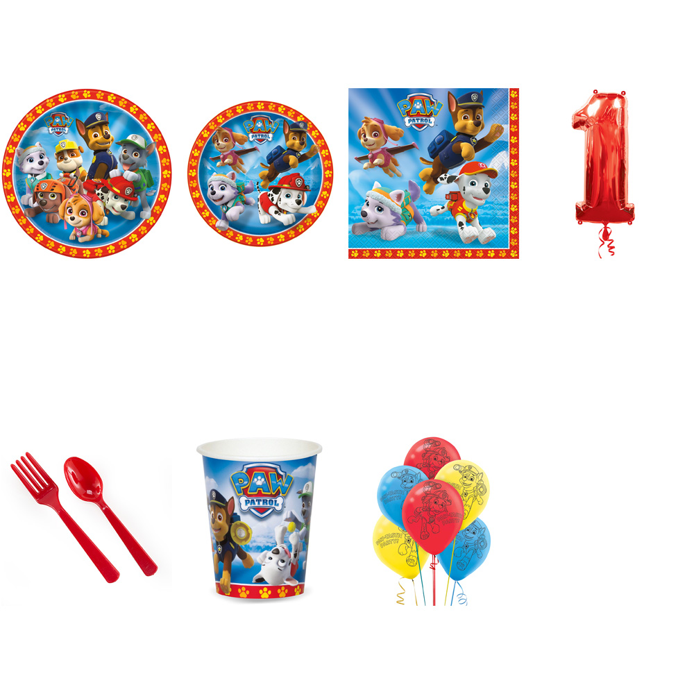 PAW PATROL PARTY SUPPLIES PARTY PACK FOR 32 WITH RED #1 BALLOON