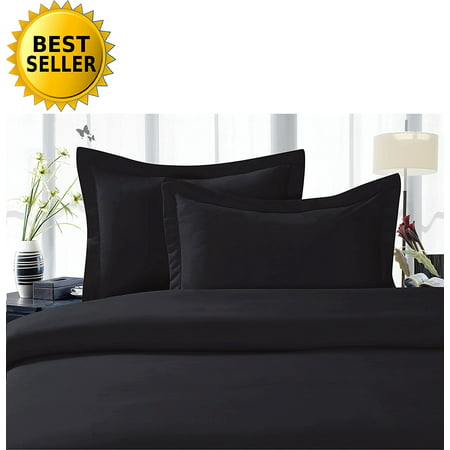 Celine Linen Best, Softest, Coziest Duvet Cover Ever! 1500 Thread Count Egyptian Quality Luxury Super Soft WRINKLE FREE 3-Piece Duvet Cover Set , Full/Queen, Black Black Duvet Cover Set