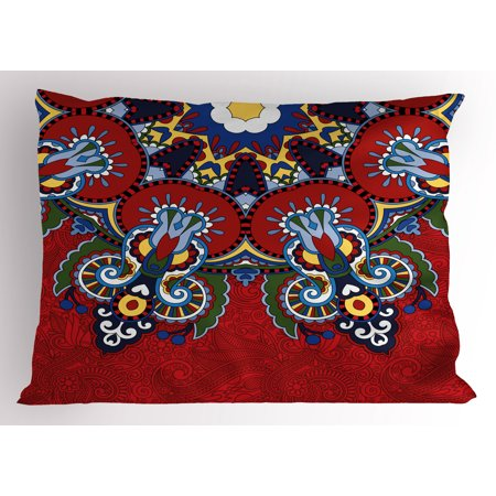 Red Mandala Pillow Sham Russian and Ukranian Ethnic Lace Like Flowers Leaves Swirls Vintage Artwork, Decorative Standard Size Printed Pillowcase, 26 X 20 Inches, Multicolor, by Ambesonne - Lace Vintage Pillowcase