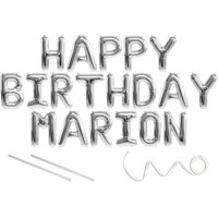 Marion, Happy Birthday Mylar Balloon Banner - Silver - 16 inch Letters. Includes 2 Straws for Inflating, String for Hanging. Air Fill Only- Does Not Float w/Helium. Great Birthday Decoration