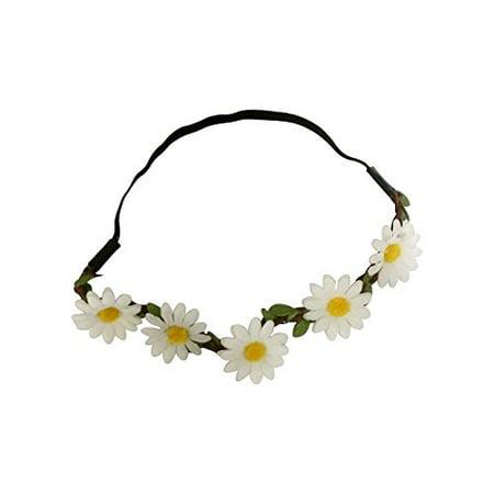 Art Attack White Daisy Dasies Sun Flower Crown Boho Floral Bohemian Leaf Braided Stretch Fashion Festival Hair Headband Head Wrap - Leaves Headband
