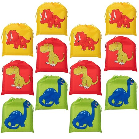 Party Bags For Kids (Drawstring Bags - 12-Pack Party Favor Bags for Kids Dinosaur Birthday, 3 Assorted Designs, Goodie Treat Bags, Dino Themed Party Supplies, For Giveaways and Gifts, Green, Red, Yellow, 9.7 x)