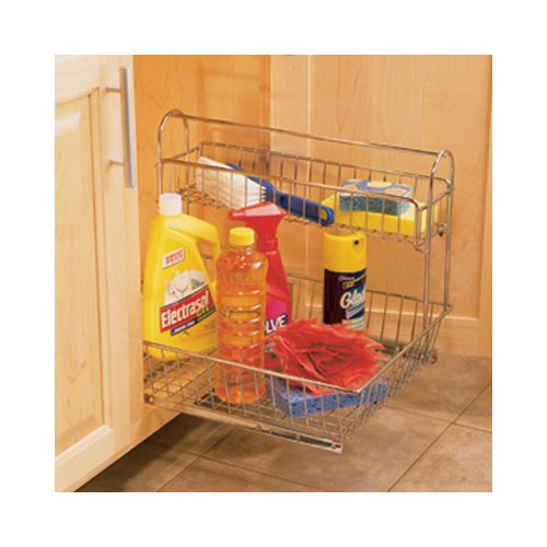 Knape and Vogt GUSB 11 FN Under sink Storage Caddy 11-inch W Frosted Nickel