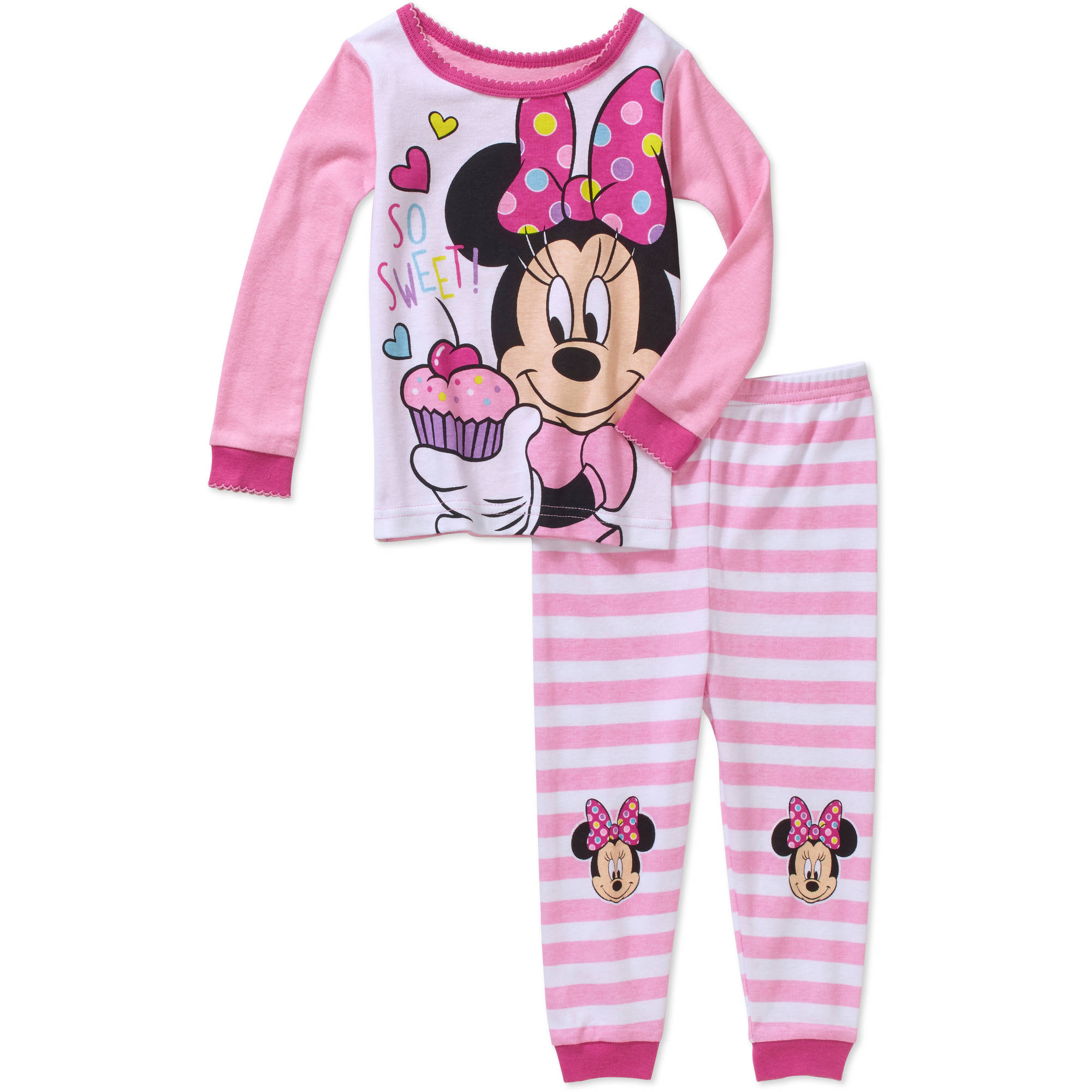 Minnie Mouse Newborn Baby Girl So Sweet Cotton Tight Fit Pajamas 2pc Set