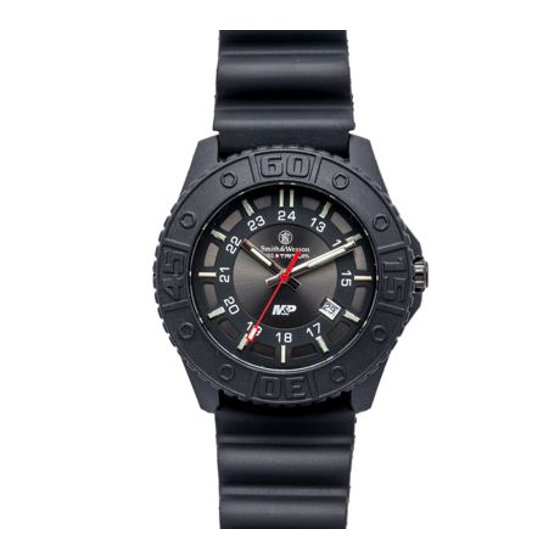 M&P Tritium Watch with Black Dial Rubber Band SWW-MP18-BLK