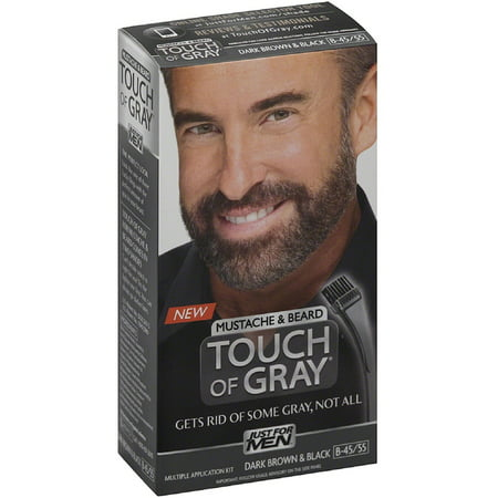 JUST FOR MEN Touch of Gray Mustache & Beard Hair Treatment, Dark Brown & Black 1 ea (Pack of 3) (Grey Moustache)