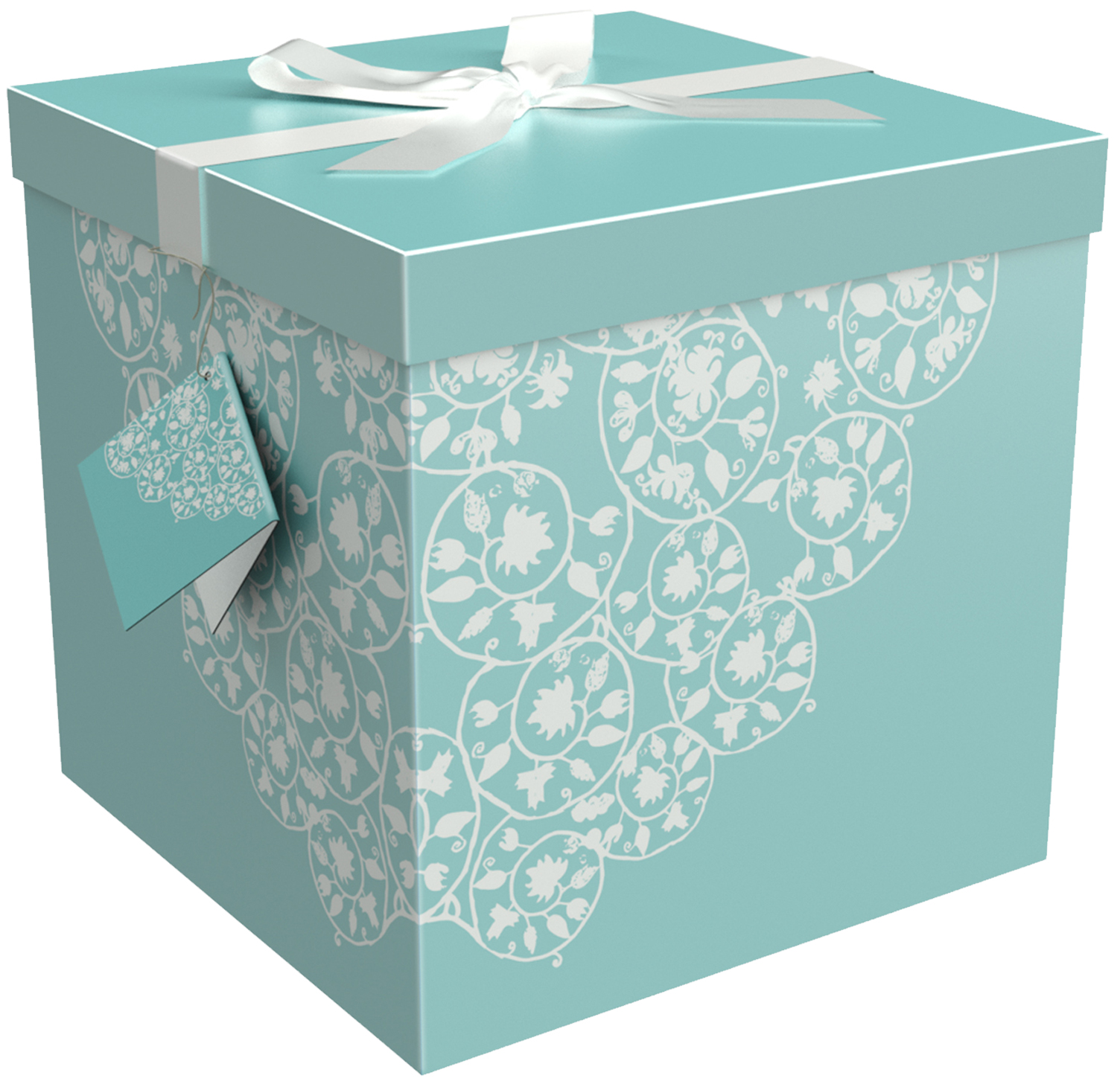 Gift Box 12x12x12 Cassandra Collection - Easy to Assemble & Reusable - No Glue Required - Ribbon, Tissue Paper, and Gift Tag Included - EZ Gift Box by Endless Art US