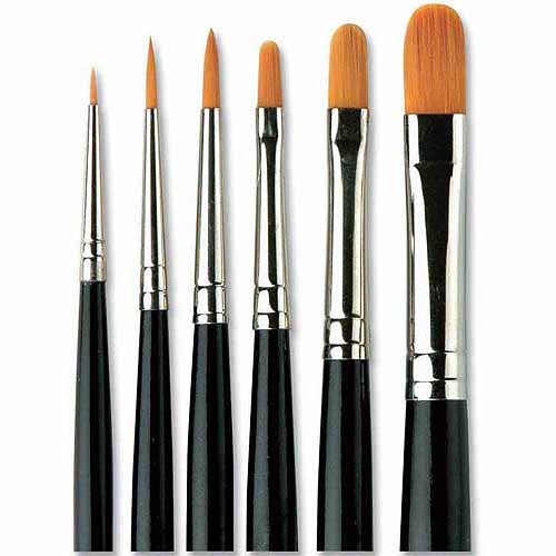 Sax Filbert Golden Synthetic Taklon Paint Brushes, Assorted Sizes, Set of 4