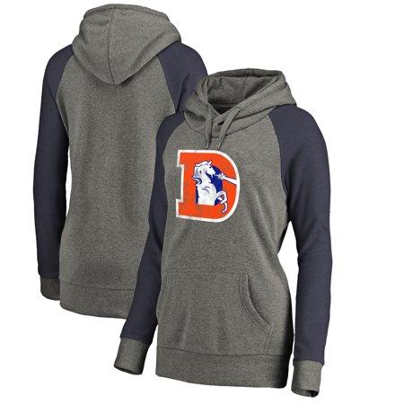 3e5d5c46 Denver Broncos NFL Pro Line by Fanatics Branded Women's Throwback Logo  Tri-Blend Raglan Plus Size Pullover Hoodie - Gray/Navy