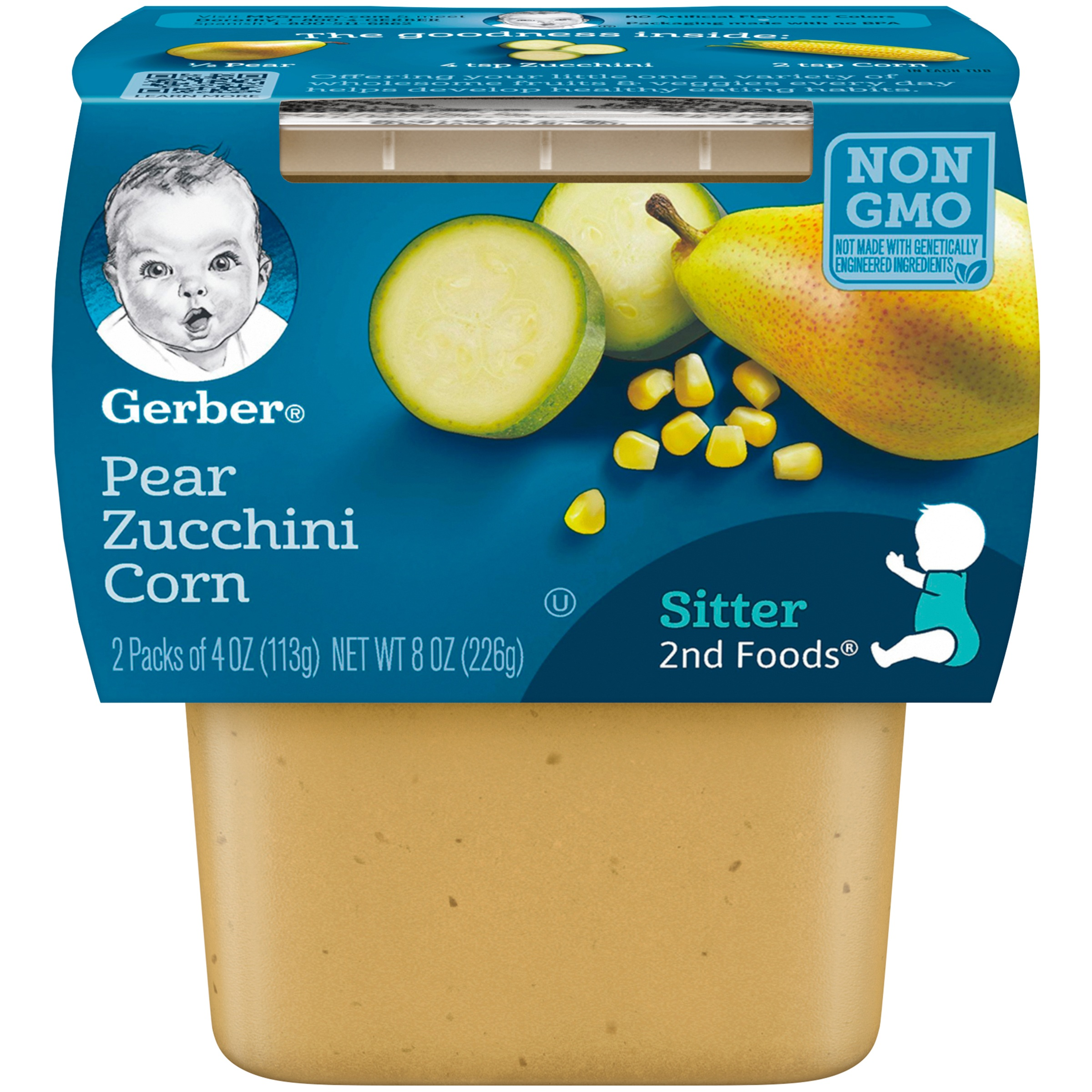 (8 Pack) Gerber 2nd Foods Pear Zucchini Corn Baby Food, 4 oz. Tubs, 2 Count