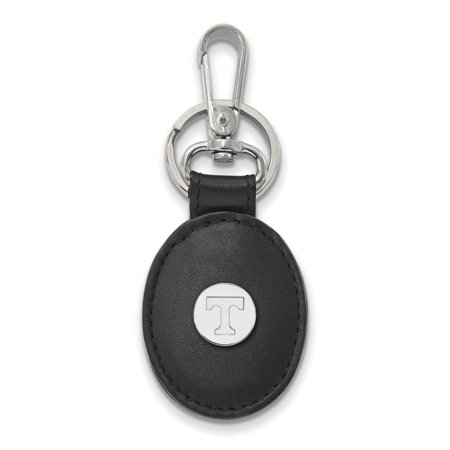 Tennessee Black Leather Oval Key Chain (Sterling -