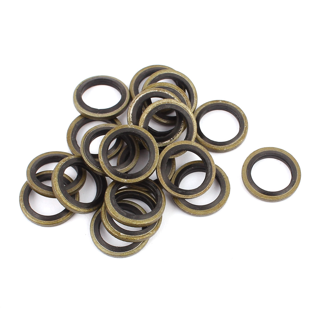 Unique Bargains20pcs 12mmx18mm Rubber Metal Combination Ring Resistant Oil Sealing Ring Gasket - image 2 of 2