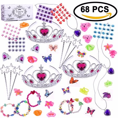 Princess Jewelry for Girls Toys Box for Gift Birthday Party Supply,Goodie Bag,Pinata Toy, Carnival Prizes,Party Favors Box 68 PCs F-151