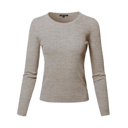 98e40d5e79 FashionOutfit Women s Basic Long Sleeve Crew Neck Cable Knit Classic Sweater  - Walmart.com
