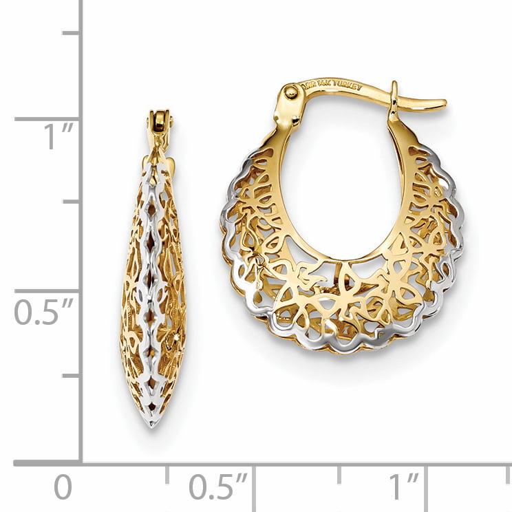 14K Yellow Gold Rhodium-plated Polished Filigree Hoop Earrings - image 1 de 2