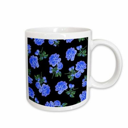 3dRose Elegant and Stylish Dark Blue Roses Floral Pattern on Sleek classy Black, Ceramic Mug, 11-ounce