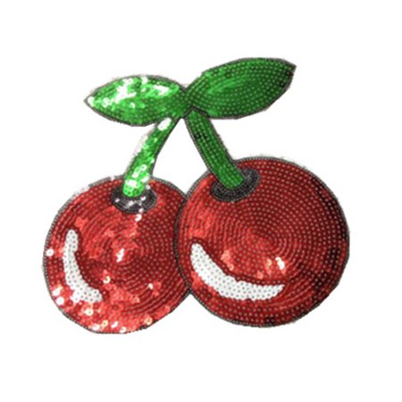 Cherries Pattern Clothes Patches Lovely Sequin Applique Costume Paste DIY Hand Works Decorations (Lovely Cherry)