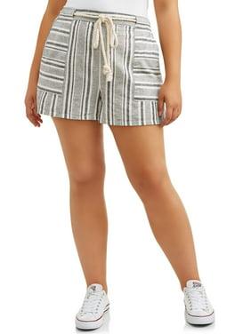 Women's Clothing Clothing, Shoes & Accessories Womens Juniors Volcom Plaid Black Khaki Cream Cuffed Shorts Size 5 Summer Jade White