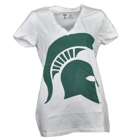 NCAA Michigan State Spartans V Neck White Womens Short Sleeve Big Logo Medium (Halloween Stores Michigan)