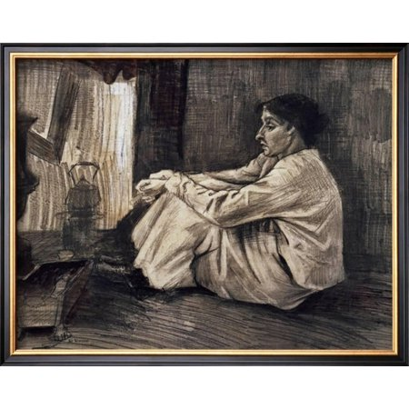 - Sien with Cigar Sitting on the Floor Near Stove Framed Art Print Wall Art  - 19x14