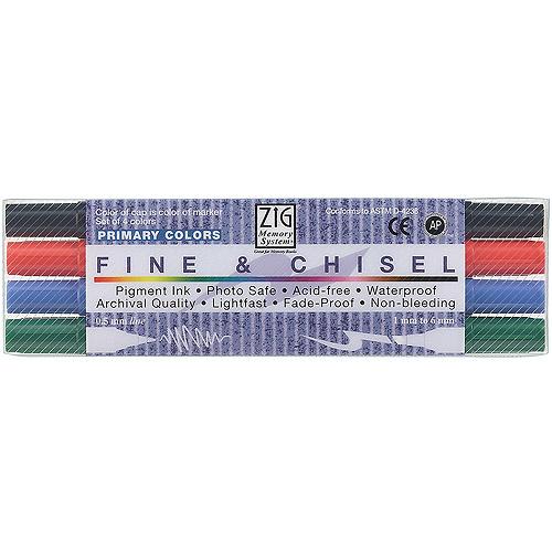 Zig - Memory System Fine & Chisel Marker Set - 4-Color Set