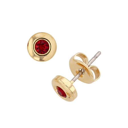 X & O 14-KT Gold Plated Bezel Post Earring With Swarovski Crystals in -
