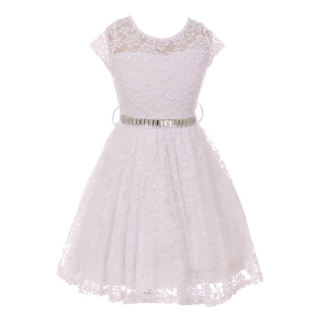 Girls White Lace Glitter Stone Belt Special Occasion Skater Dress (White Girl Dresses)